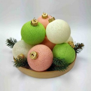 "Фото Игрушки на ёлку Cotton Ball Lights ""Ivory-Peach-Green Mix"""