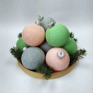 "Фото Игрушки на ёлку Cotton Ball Lights ""Peach-Grey-Green Mix"""