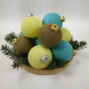 "Фото Игрушки на ёлку Cotton Ball Lights ""Yellow-Aqua-Beige Mix"""