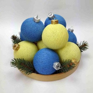 "Фото Игрушки на ёлку Cotton Ball Lights ""Blue-Yellow Mix"""
