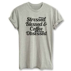 "Фото Футболка с принтом Balala ""Stressed, Blessed & Coffee Obsessed"""