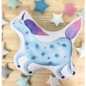"Фото Подушка Happy Spaces ""Blue Unicorn"""